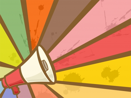 Colorful Illustration Featuring a Megaphone Framed by Rays of Different Colors Stock Illustration - 24226830