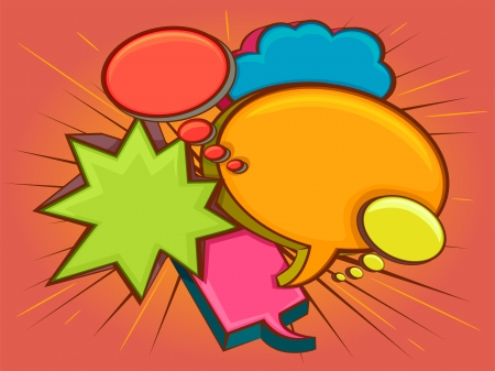 shapes cartoon: Colorful Illustration of Speech Bubbles of Different Shapes and Colors