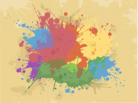 Abstract Illustration Featuring Colorful Splats Against a Yellow Background Stock Illustration - 24226833