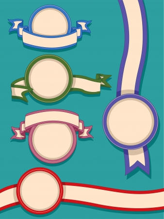 Illustration of Ready to Print Labels Featuring Frames and Ribbons Stock Illustration - 24226834
