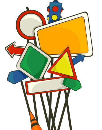 Illustration Featuring Blank Road Signs Stock Illustration - 24226836