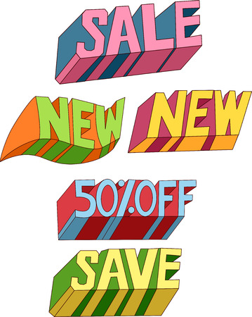 Text Illustration of Bargain Related Words with Different Designs Stock Illustration - 24226837