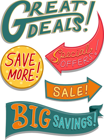 bargain: Illustration of Ready to Print Labels Featuring Bargain Related Words with Different Designs Stock Photo