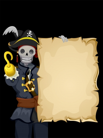 Background Illustration of a Skeleton Wearing a Pirate Costume and Holding a Blank Scroll Stock Illustration - 24226859