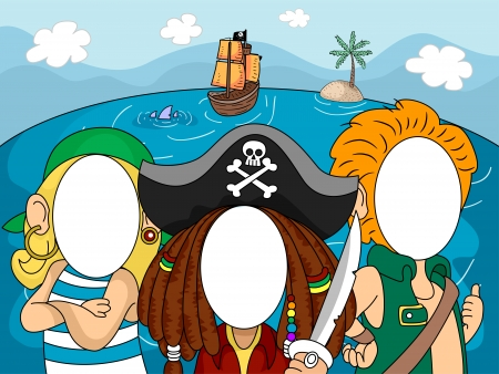 blank faces: Illustration of Pirates with Blanked Out Faces for Taking Pictures at Photo Booths Stock Photo
