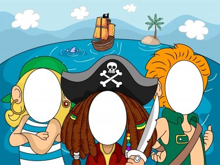 barco caricatura: Ilustraci�n de Piratas con caras omitiese para Toma de fotograf�as en Photo Booths