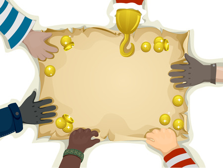 Illustration of Hands Holding the Edges of a Blank Treasure Map illustration