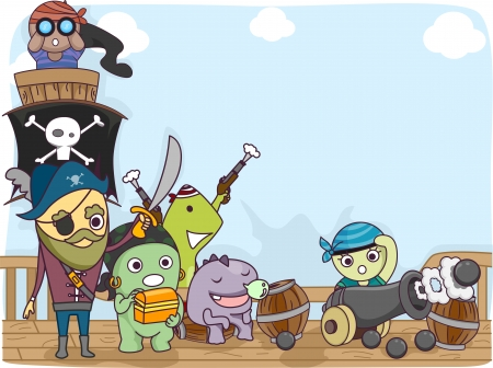 pirate crew: Illustration of a Pirate Crew Composed of Cute Little Monsters Standing on the Deck of the Ship Stock Photo