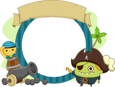 Frame Illustration of Pirate Monsters Flanking a Cannon Stock Illustration - 24226863