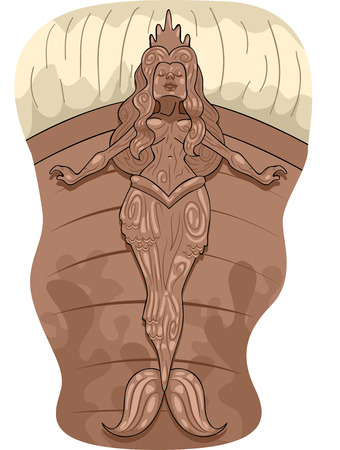 Illustration of a Pirate Ship Figurehead with a Mermaid Design Stock Illustration - 24226866