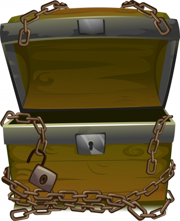 plunder: Illustration of an Open Treasure Chest Wrapped by Chains