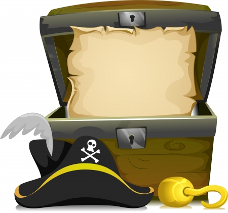 cofre del tesoro: Ilustración de un pecho de tesoro con un vacío de desplazamiento interior y un sombrero del pirata y un gancho en la parte frontal Foto de archivo