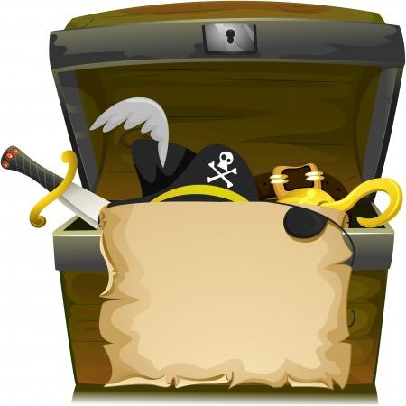 cofre del tesoro: Ilustración de cofre del tesoro con una voluta vacía, una cimitarra, un sombrero del pirata, una hebilla y un gancho interior Foto de archivo
