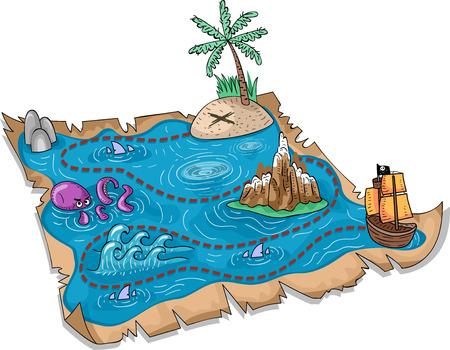 barco caricatura: Ilustraci�n de un mapa del tesoro con marcadores tridimensionales
