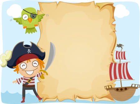 pirate hat: Illustration of a Pirate Standing Beside an Unrolled Scroll