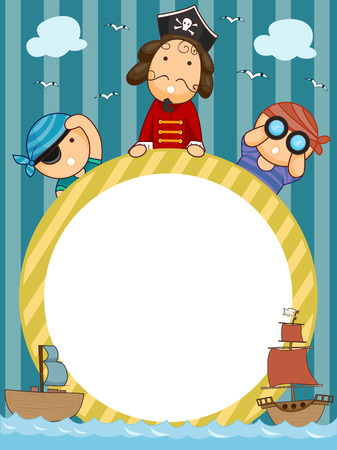 pirate crew: Frame Illustration of Pirates Holding a Circular Frame Flanked by Pirate Ships
