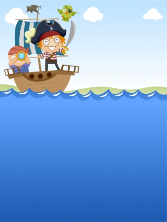 pirate cartoon: Background Illustration of Pirates Happily Sailing Out to Sea Stock Photo