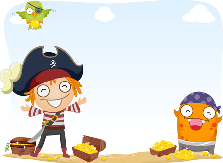 plunder: Background Illustration of Pirate and a Monster Surrounded by Gold Coins and Treasure Chests Stock Photo