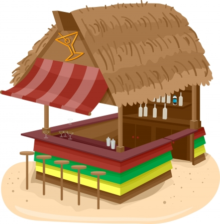 beach bar: Illustration of a Beach Hut Bar Serving Alcoholic Drinks Stock Photo