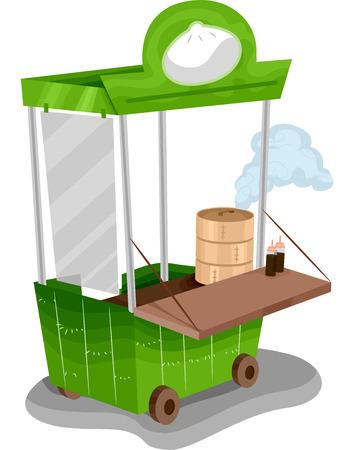 Illustration of a Food Cart Selling Dim Sum