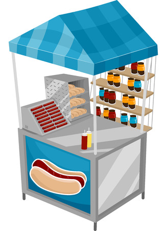 Illustration of a Food Cart Selling Hotdogs Stock Illustration - 24226885