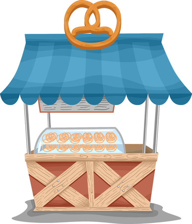 Illustration of a Food Cart Selling Pretzels illustration