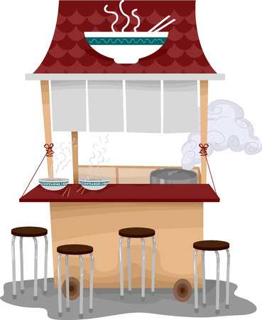 ramen: Illustration of a Food Cart Selling Ramen Stock Photo
