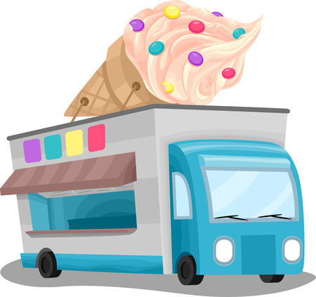 Illustration of an Ice Cream Truck with a Huge Ice Cream Installation on Top illustration