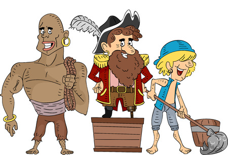 Illustration of Pirate Crew Members Cleaning Under the Supervision of the Captain illustration