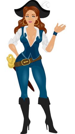Illustration d'une femme habillé comme un pirate Gestes quelque chose avec sa main Banque d'images - 24226891