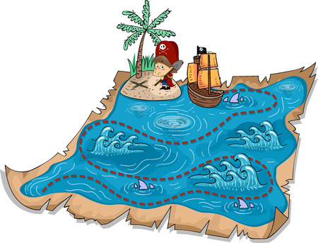 Illustration of a Treasure Map with Three-Dimensional Markers Stock Illustration - 24226912