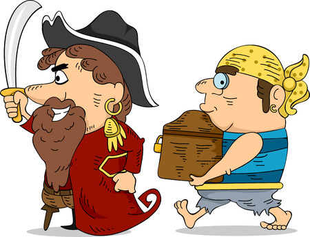 plunder: Illustration of Pirates Carrying a Locked Treasure Chest