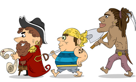 loot: Illustration of a Group of Pirates Looking for Treasure