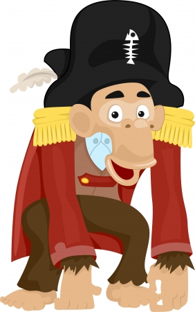 Illustration of a Monkey Dressed as a Pirate Stock Illustration - 24226915
