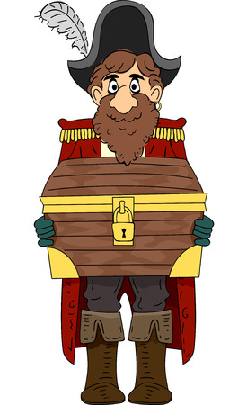 plunder: Illustration of a High-Ranking Pirate Carrying a Locked Treasure Chest