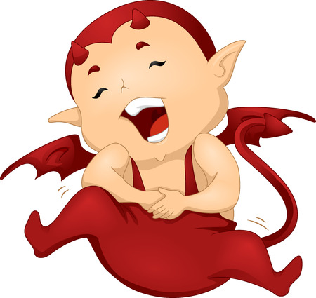 trickster: Illustration of a Little Devil Clutching His Stomach in Laughter