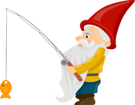 troll: Illustration of a Gnome Holding a Fishing Rod with a Fish Dangling at the End Stock Photo