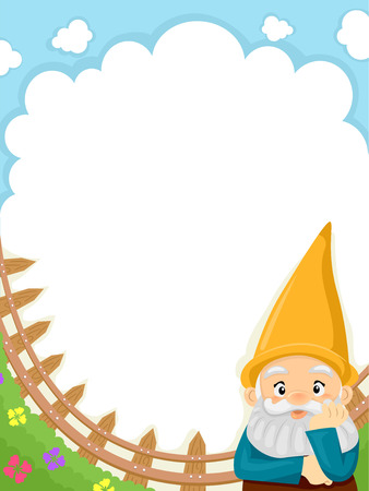 Background Illustration of a Garden Gnome Set Against Clear Blue Skies illustration