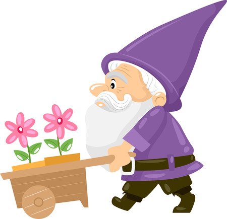 Illustration of a Gnome Pushing a Cart Carrying Flower Pots illustration