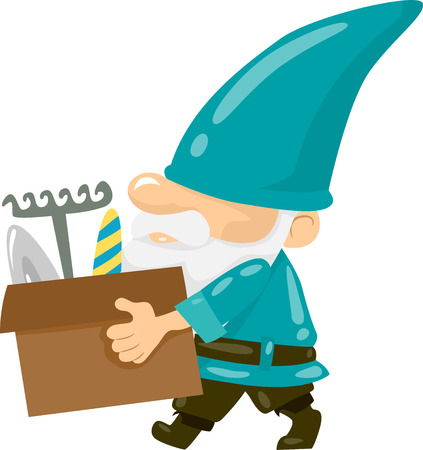 troll: Illustration of a Gnome Carrying a Box of Gardening Tools