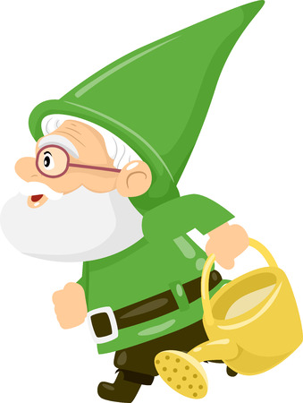 sideview: Illustration of a Gnome Carrying a Watering Can Stock Photo