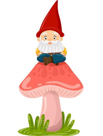 キノコの上に座っている Gnome のイラスト 写真素材