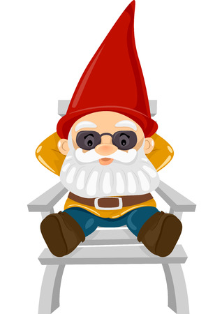 gnome: Illustration of a Gnome Sitting Comfortably on a Reclining Chair