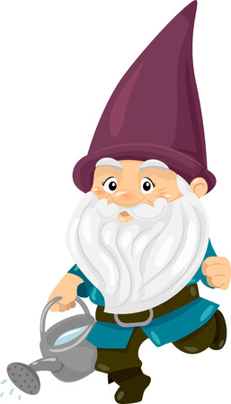 enano: Ilustración de un Gnome Llevar un poder del agua llena de agua