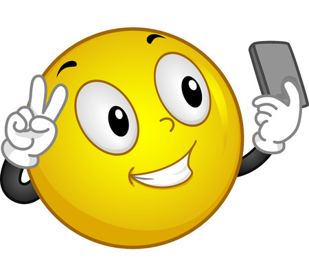 selfie: Illustration of a Smiley Taking a Selfie Stock Photo