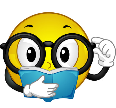 Illustration of a Glasses Wearing Smiley Reading a Book illustration