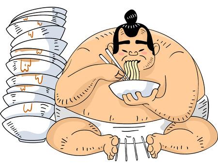 wrestler: Illustration of a Sumo Wrestler Sitting Beside a Tall Pile of Ramen Bowls