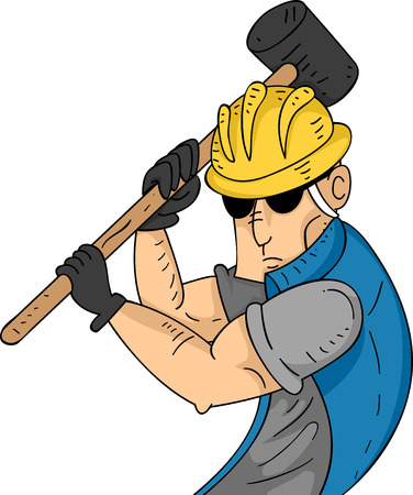 sledgehammer: Illustration of a Muscular Construction Worker Swinging a Sledgehammer