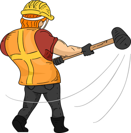 sledgehammer: Back View Illustration of a Muscular Construction Worker Swinging a Sledgehammer Stock Photo