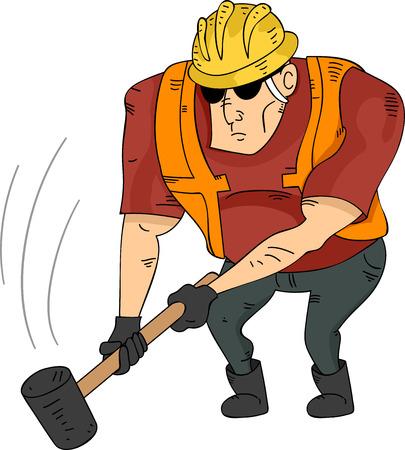 sledgehammer: Illustration of a Muscular Construction Worker Holding a Sledgehammer Stock Photo
